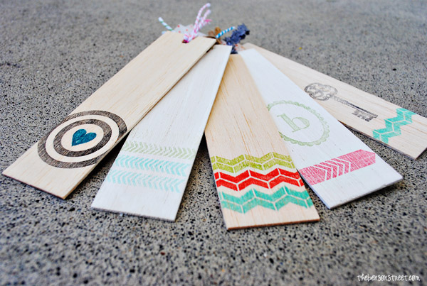 Adorable Wooden Stamped Bookmarks