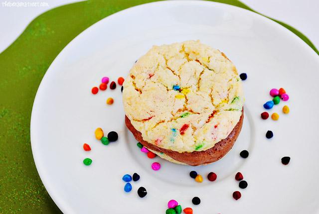 Funfetti Chocolate Ice Cream Sandwiches at thebensonstreet.com
