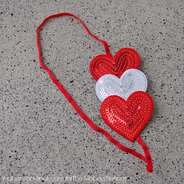 Cute Triple Sequin Heart Headband for Valentines Day at thebensonstreet.com