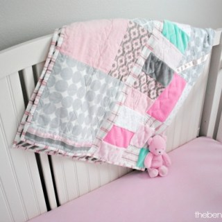 Pink, mint and gray crib blanket at thebensonstreet.com