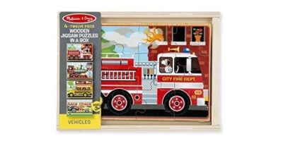 Melissa & Doug Vehicles 4-in-1 Wooden Jigsaw Puzzles in a Storage Box