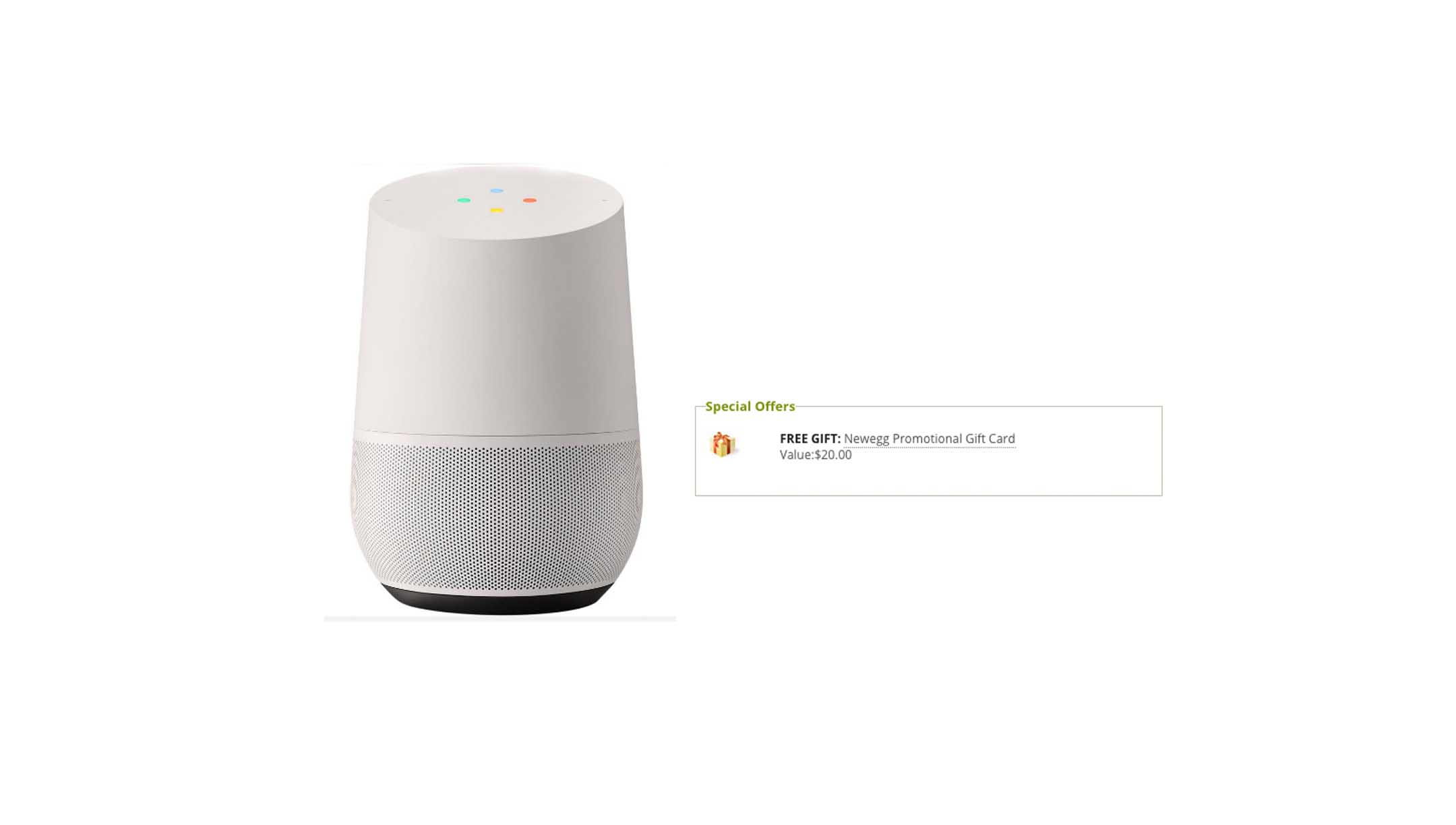 Google Home with FREE $20.00 Newegg Promotional Gift Card for ...