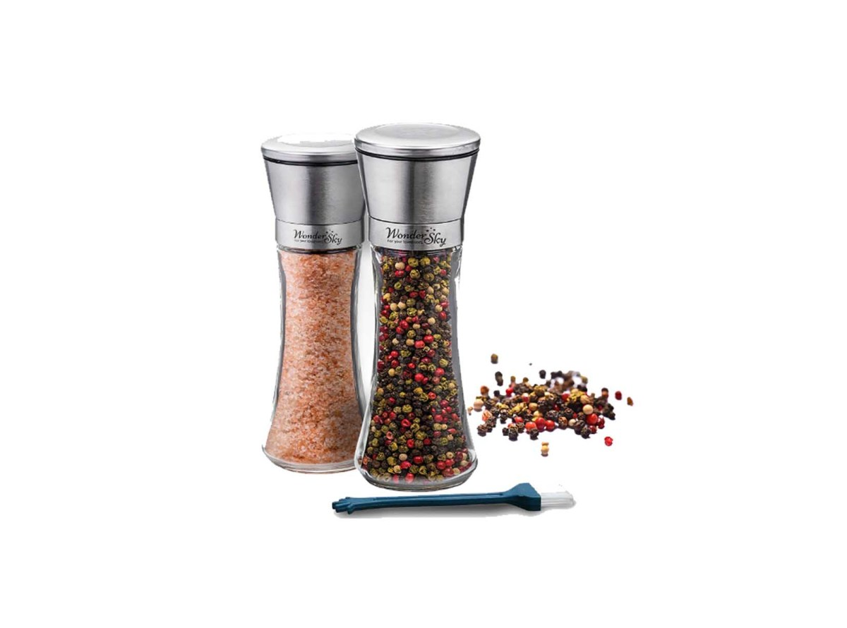Wonder Sky Salt and Pepper Shakers Grinders Set of 2 Glass Mills Brushed Stainless Steel for $23.97 at Amazon