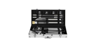 19pc Stainless Steel BBQ Grill Tool Set With Aluminum Storage Case