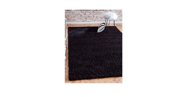 Unique Loom Solid Shag Collection Jet Black 8 x 11 Area Rug (8′ x 11′)