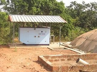 A 60 KV generator used to convert methane gas to generate electricity at the Oddoor farms, Mangalore