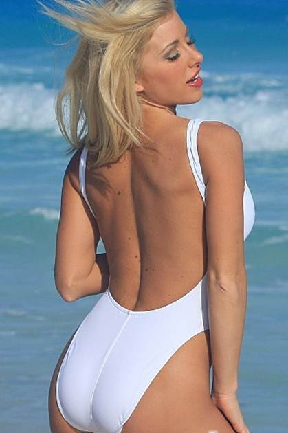 High Thigh White One Piece Swimsuits