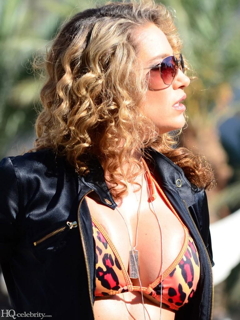 Jennifer Nicole Lee Sexy Bikini Leather Jacket