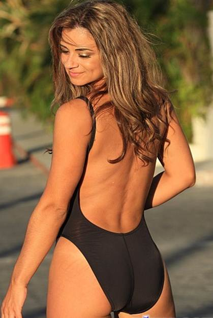 Black One Piece Swimsuit Scoop Front and Back with shelf bra