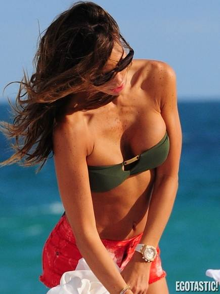 Claudia Galanti-Green Bandeau Bikini Top-Red Shorts