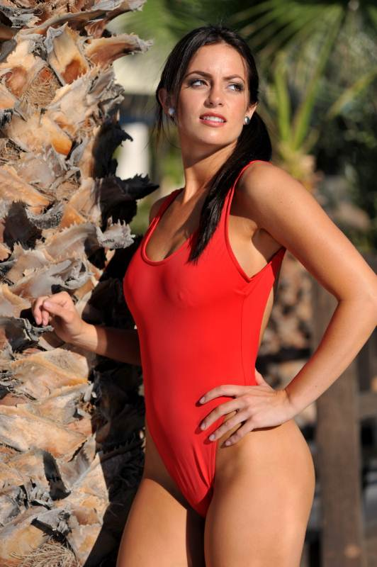 Bikinis For Women with Smaller Chests Sheer Red One Piece