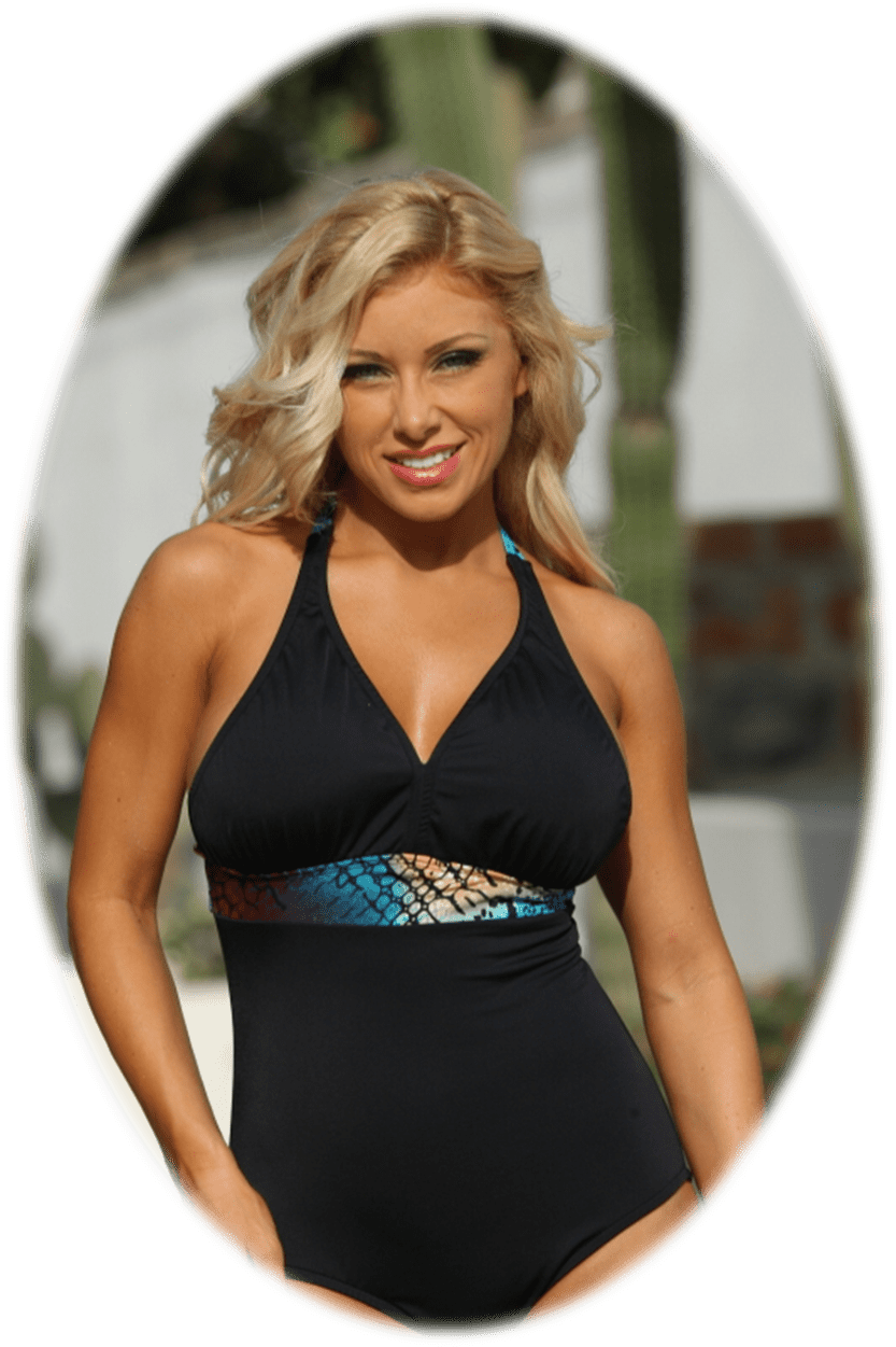 Black Full Figure One Piece Swimsuit