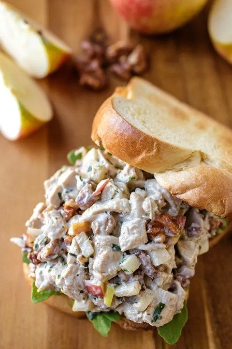 Autumn Chicken Salad with Honeycrisp Apples and Candied Walnuts