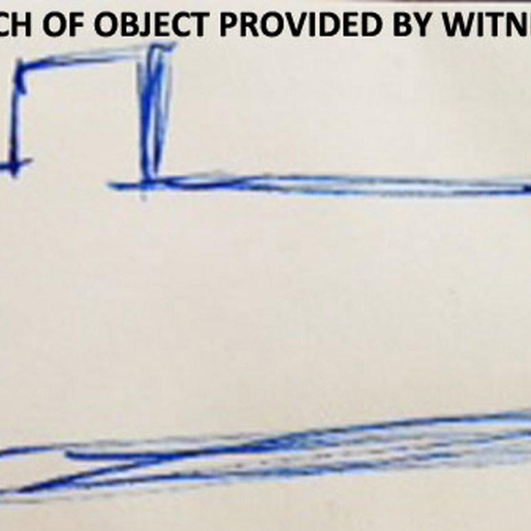Family See White Rectangular UFO Hovering in Blue Sky