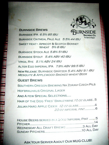 Burnside Brewing beer menu