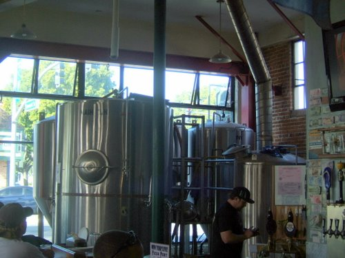 Pizza Port Carlsbad beer brewing tanks