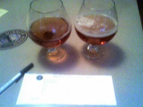 Cellphone pic of Deschutes Brewery's experimental pale ale tasting