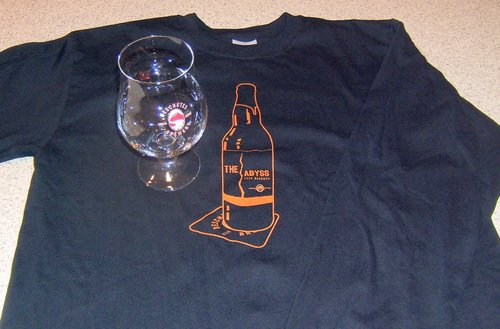 Abyss shirt and Deschutes Brewery goblet