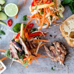 Vietnamese Grilled Chicken Burgers with Mango Slaw