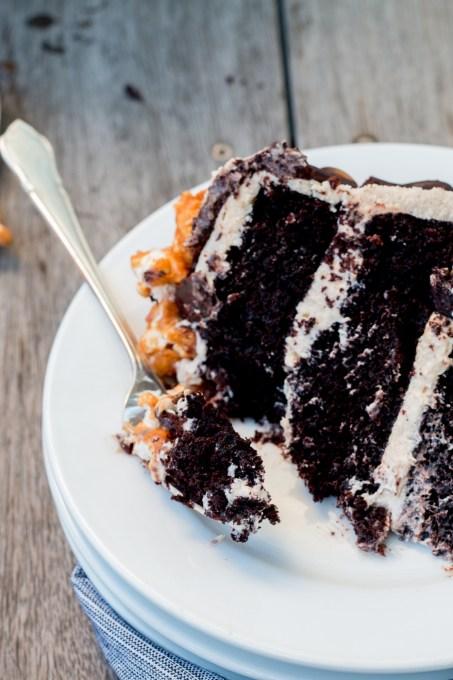 Chocolate Caramel Popcorn Cake