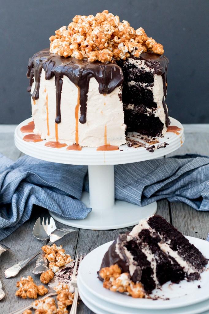 Triple-Layer Chocolate Cake with Salted Caramel Buttercream, Chocolate Ganache and Caramel Popcorn