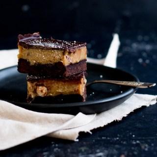 Chocolate, Hazelnut & Espresso Caramel Slice