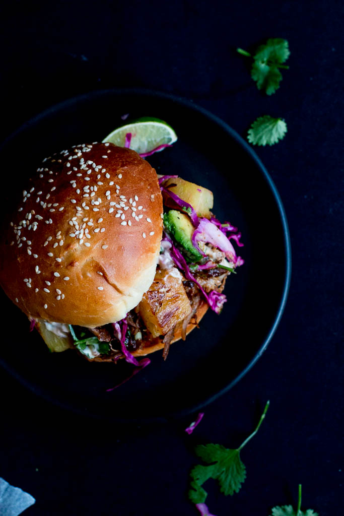 Pulled Pork Burgers with Grilled Pineapple & Avocado Slaw