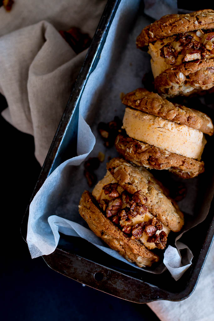 Pumpkin, pecan and white-chocolate ice cream sandwiches - The Brick Litchen