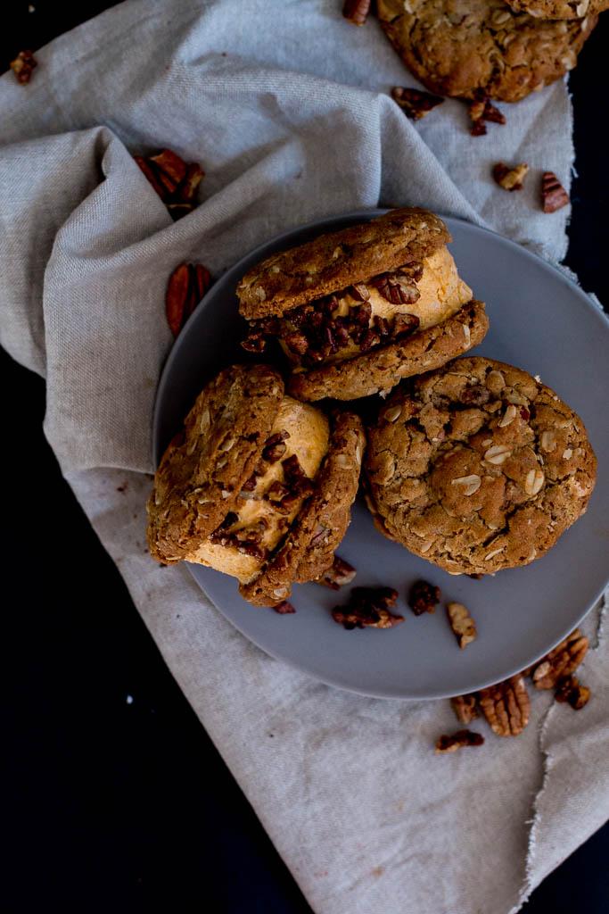 Pumpkin, pecan and white-chocolate ice cream sandwiches - The Brick Kitchen