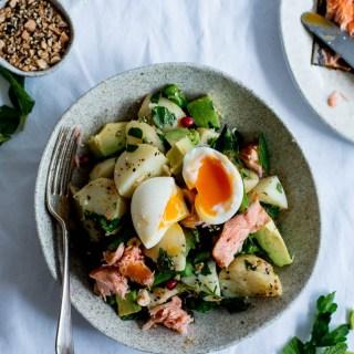 Dukkah, Asparagus & Hot Smoked Salmon Potato Salad