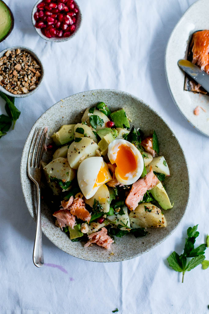 Dukkah, Asparagus & Hot Smoked Salmon Potato Salad