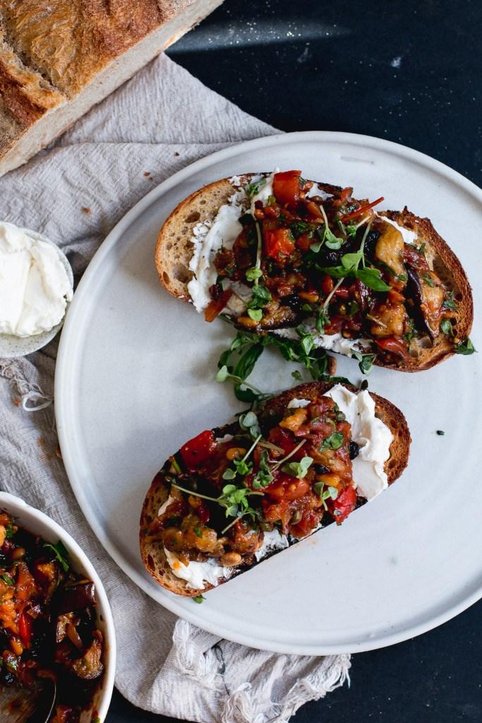 Eggplant Caponata & Labneh Bruschetta - The Brick Kitchen