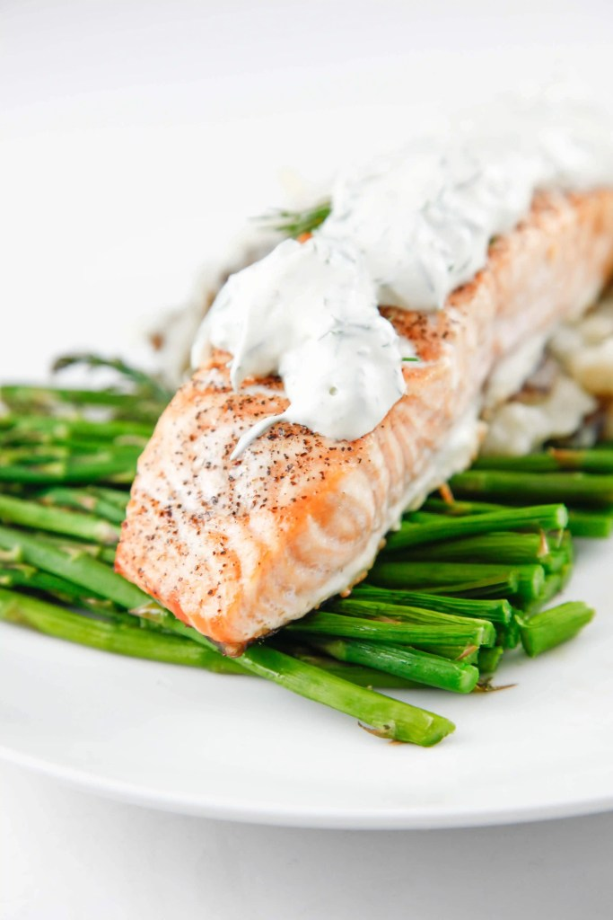Roasted Salmon with Dill Sauce - The Brooklyn Cook