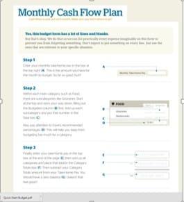 Monthly Cash Flow Form