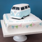 VW Camper van birthday cake with pastel vintage bunting