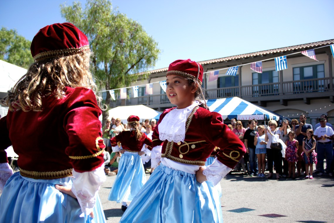 St. Basil's youth dance team performs a traditional Greek dance. Photo by Brian Park