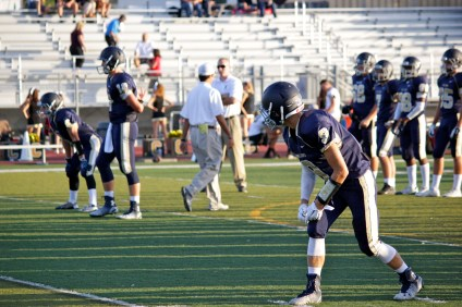 The San Juan Hills offense warms up before their game against Canyon. Photo: Brian Park