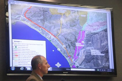 Tom Bonigut, deputy director of Public Works, presented the proposals from the Transportation Corridor Agencies for the 241 extension through San Clemente. City Council voted to pass a resolution opposing the major projects but is open to future alternatives. Photo: Eric Heinz
