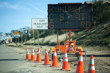 A sign at Ortega Highway and Antonio Parkway warns of a full highway closure at Gibby Road. Photo: Allison Jarrell
