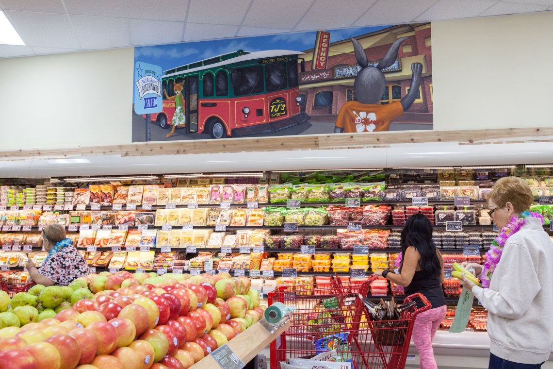 San Juan-themed artwork inside the new Trader Joe's. Photo: Allison Jarrell