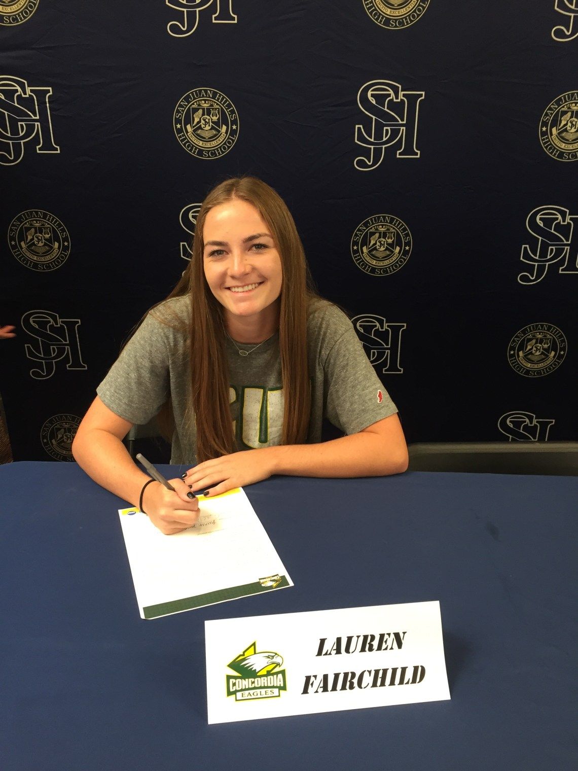 Volleyball player Lauren Fairchild signed her NLI to Concordia University. Photo: Courtesy