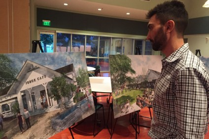 Damian Orozco, owner of The Tea House on Los Rios, looks at a rendering of the proposed River Street Marketplace development during a public scoping meeting at the San Juan Capistrano Community Center on Wednesday, Jan. 24. Photo: Emily Rasmussen