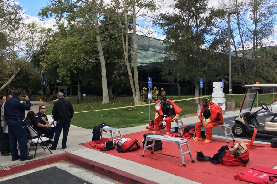 OCFA responds to an ammonia leak on Friday, March 16 at Quest Diagnostics. Photo: Courtesy OCFA