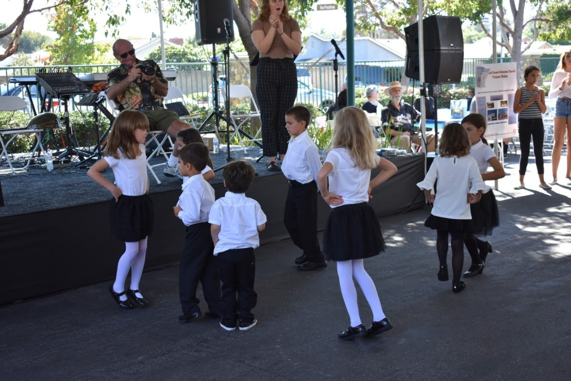 Youngsters put on a Greek dancing demonstration for visitors to the San Juan Capistrano Greek Festival on Saturday, Sept. 29. Photo: Alex Groves