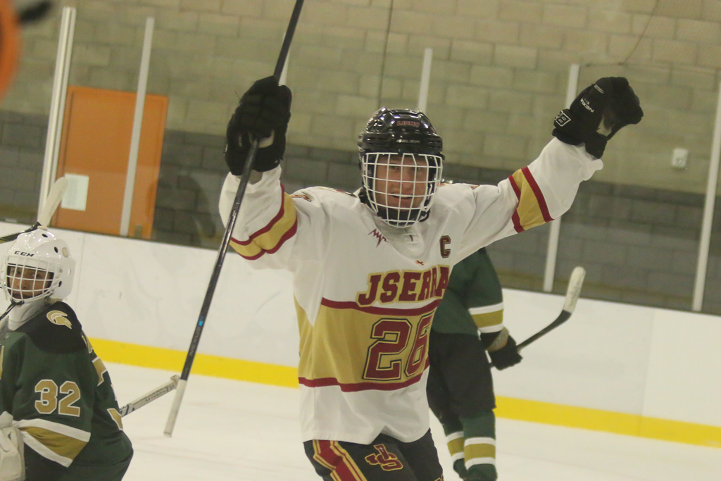 Blake Reed celebrates after scoring his first of three goals in a 5-1 win over Damien. Photo: Eric Heinz