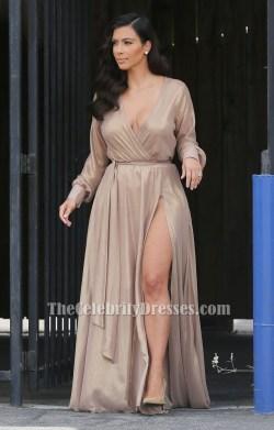 Ideal Kim Kardashian Champagne Long Sleeve Chiffon Wrap Evening Formal Dress Kim Kardashian Champagne Long Sleeve Chiffon Wrap Evening Formal Long Sleeve Formal Dresses Dillards Long Sleeve Formal Dre