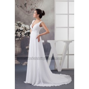 Stupendous Sexy Chapel Train Deep Chiffon Wedding Dress Sexy Chapel Train Deep Chiffon Wedding Dress Aline Wedding Dresses 2018 Aline Wedding Dresses Canada