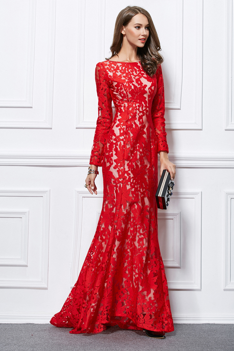 Creative Trumpet Mermaid Red Lace Long Sleeve Formal Evening Dresses Trumpet Mermaid Red Lace Long Sleeve Formal Evening Dresses Long Red Dress Amazon Long Red Dresses Prom wedding dress Long Red Dress