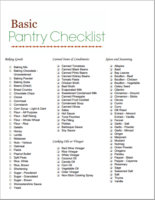 Basic Food Pantry Items