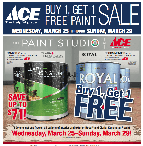 Ace Hardware Buy 1 Get 1 Free Paint Sale The Centsable Shoppin